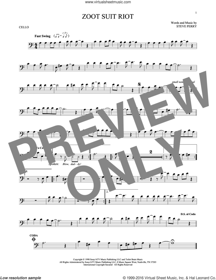 Zoot Suit Riot sheet music for cello solo by Cherry Poppin' Daddies and Steve Perry, intermediate skill level