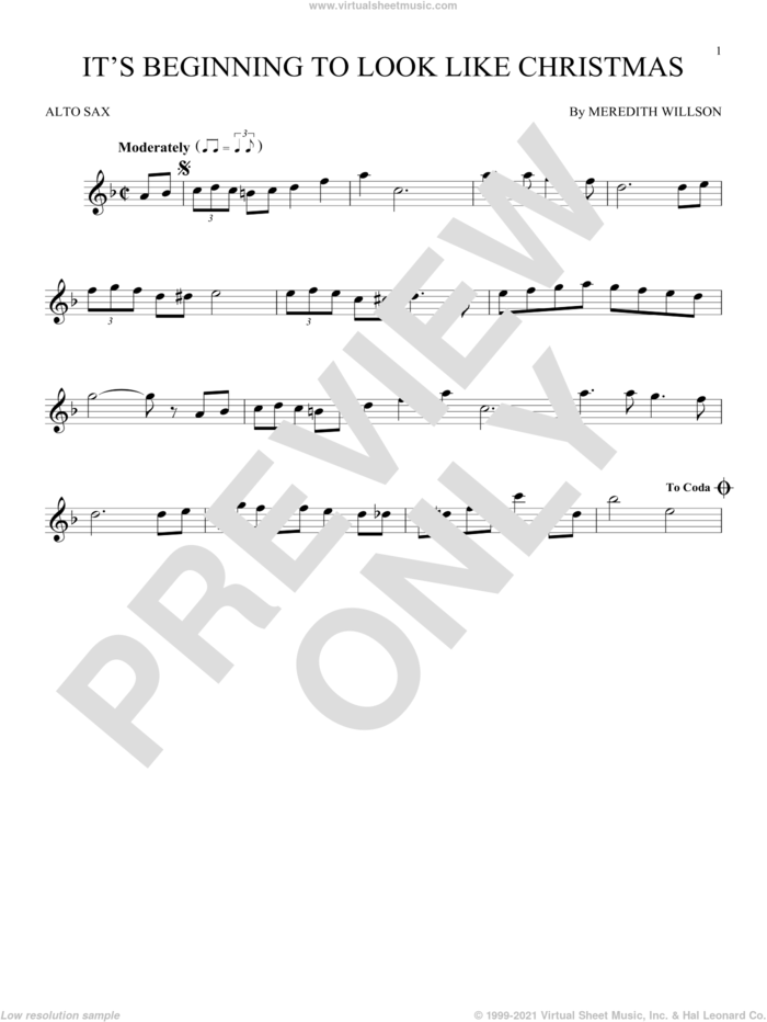 It's Beginning To Look Like Christmas sheet music for alto saxophone solo by Meredith Willson, intermediate skill level