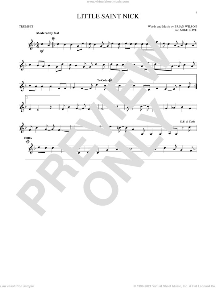 Little Saint Nick sheet music for trumpet solo by The Beach Boys, Brian Wilson and Mike Love, intermediate skill level