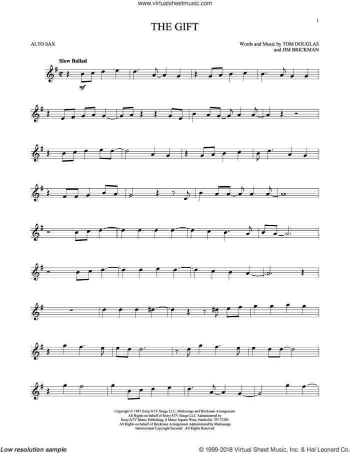 The Gift sheet music for alto saxophone solo by Jim Brickman, Collin Raye and Tom Douglas, intermediate skill level