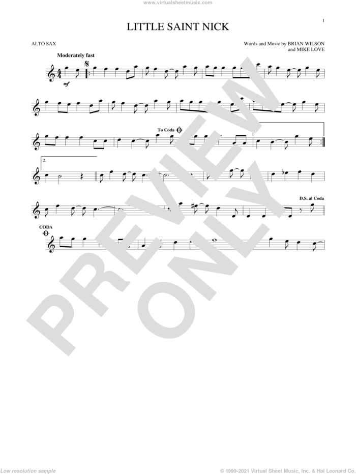 Little Saint Nick sheet music for alto saxophone solo by The Beach Boys, Brian Wilson and Mike Love, intermediate skill level