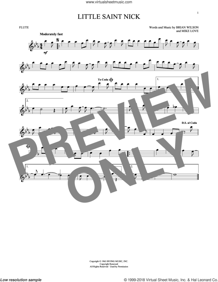Little Saint Nick sheet music for flute solo by The Beach Boys, Brian Wilson and Mike Love, intermediate skill level