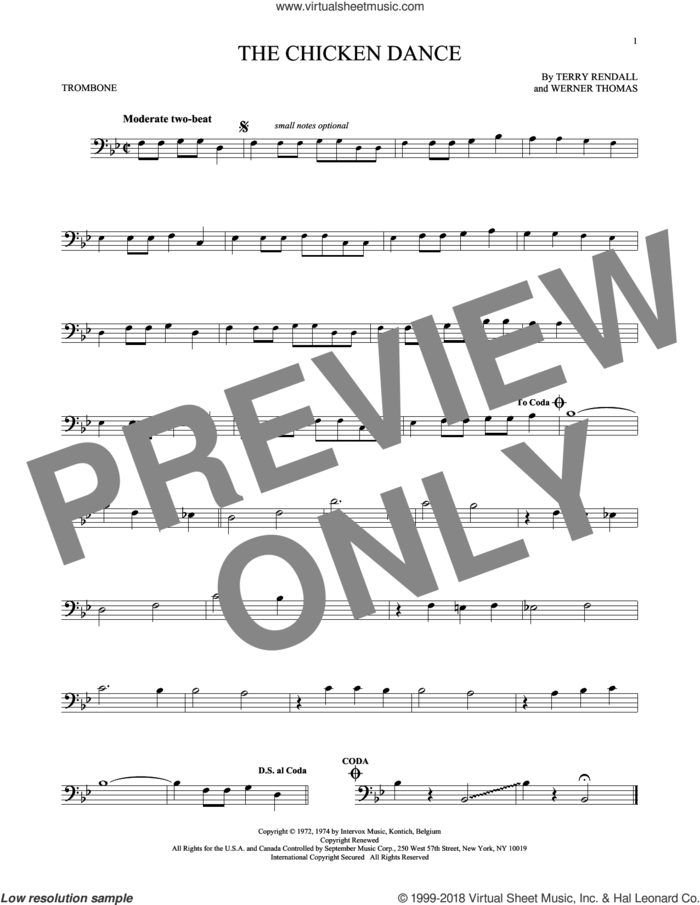 The Chicken Dance sheet music for trombone solo by Werner Thomas, Paul Parnes and Terry Rendall, wedding score, intermediate skill level