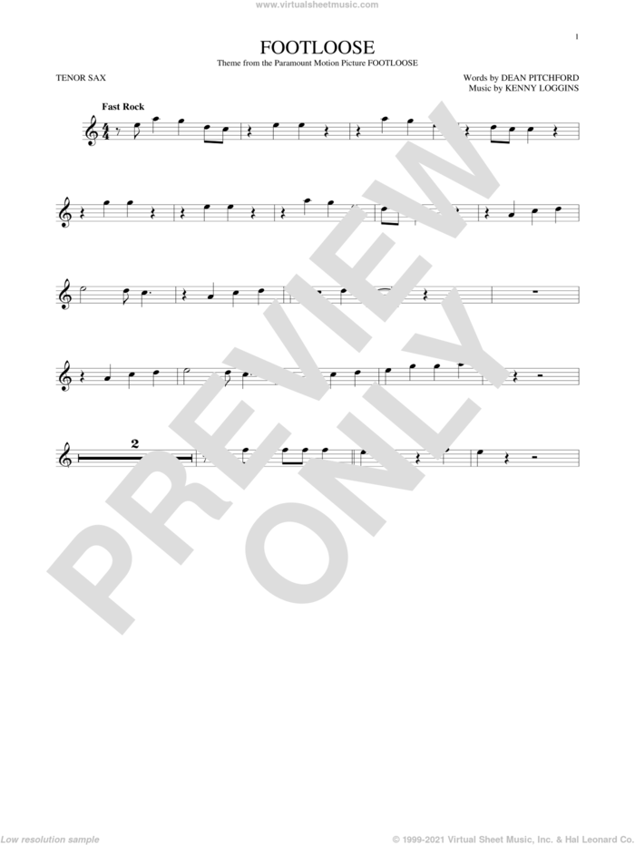 Footloose sheet music for tenor saxophone solo by Kenny Loggins, Blake Shelton and Dean Pitchford, intermediate skill level