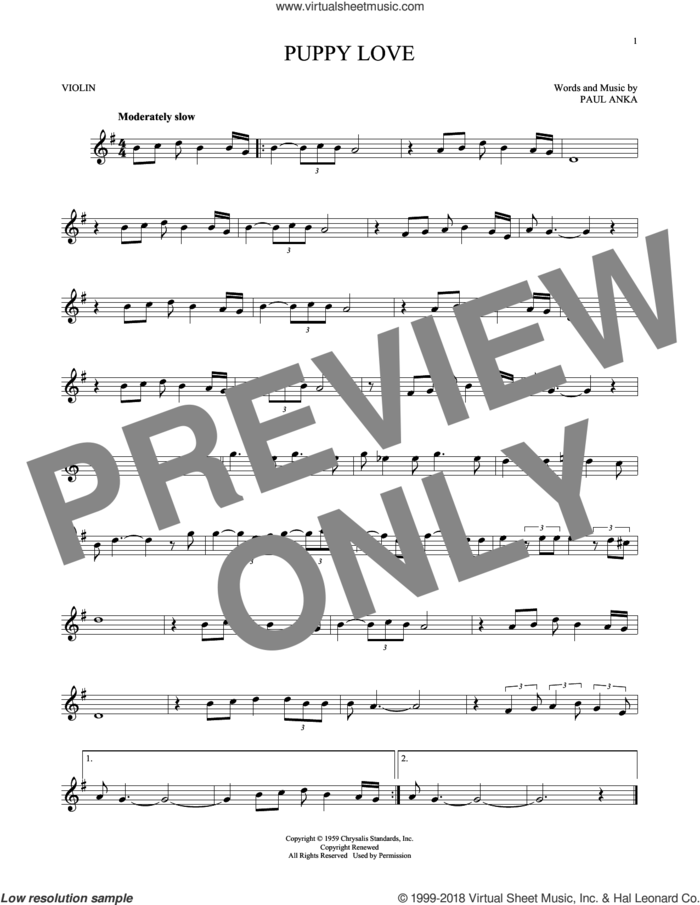 Puppy Love sheet music for violin solo by Paul Anka and Donny Osmond, intermediate skill level
