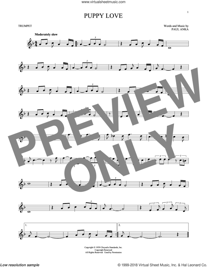 Puppy Love sheet music for trumpet solo by Paul Anka and Donny Osmond, intermediate skill level