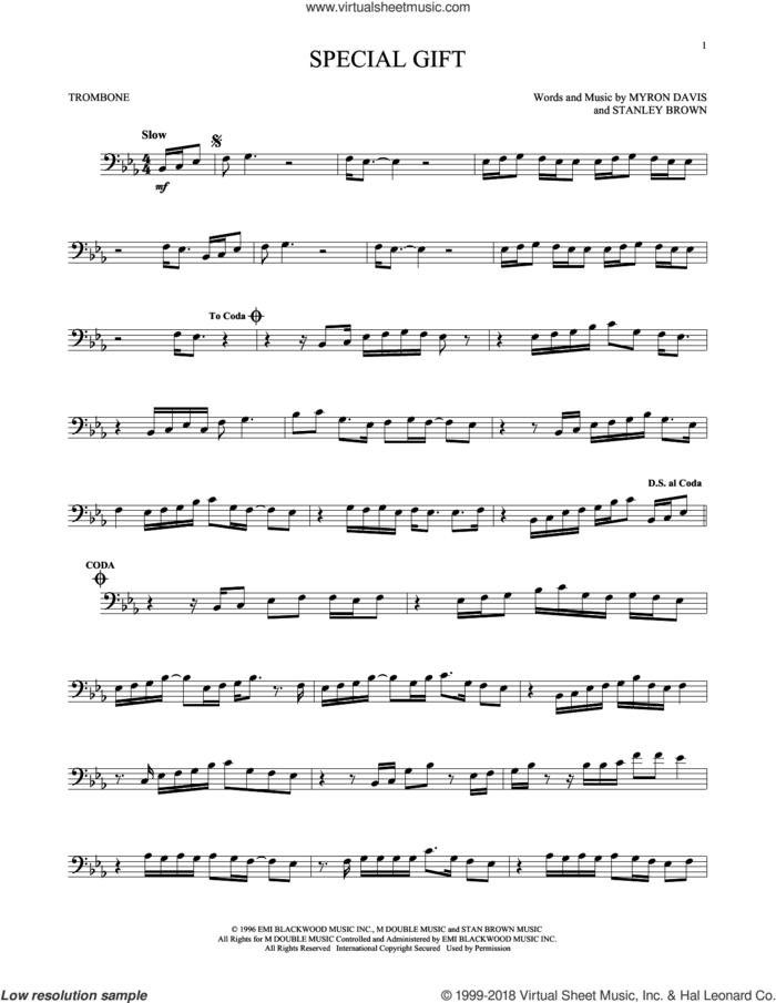 Special Gift sheet music for trombone solo by The Isley Bros., Myron Davis and Stanley Brown, intermediate skill level