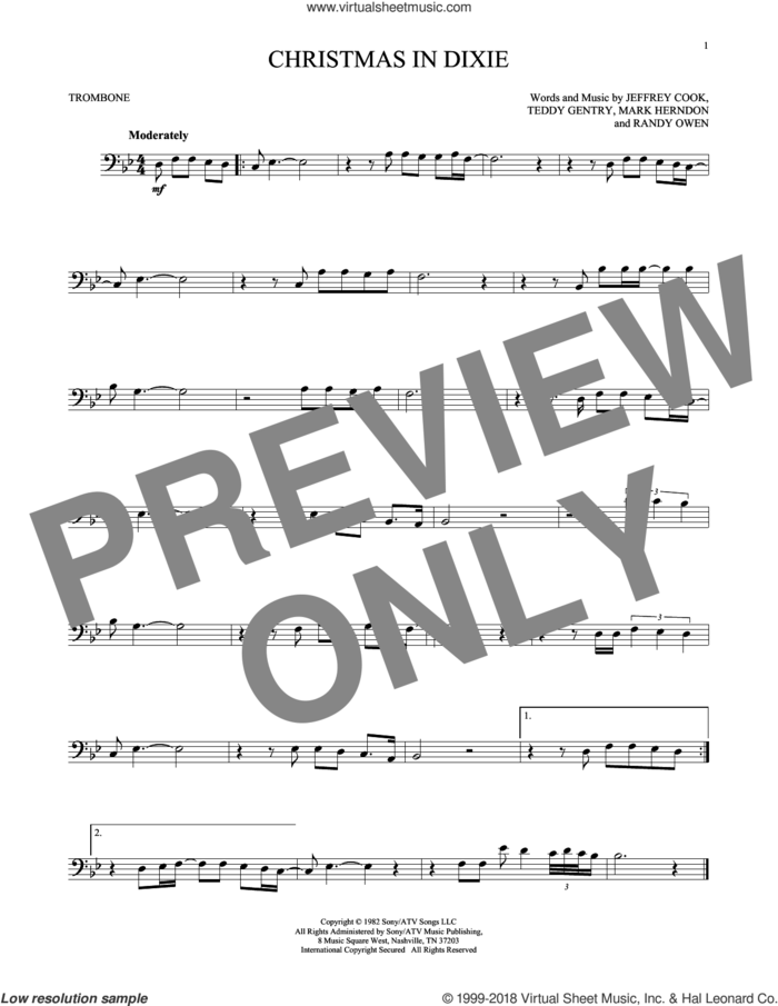 Christmas In Dixie sheet music for trombone solo by Alabama, Jeffrey Cook, Mark Herndon, Randy Owen and Teddy Gentry, intermediate skill level