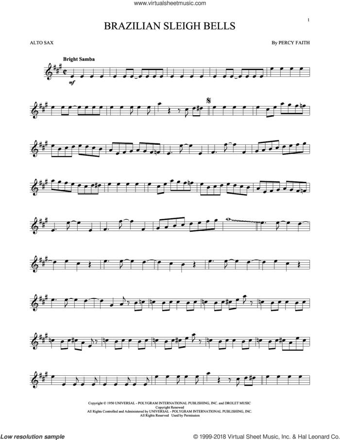 Brazilian Sleigh Bells sheet music for alto saxophone solo by Percy Faith, intermediate skill level