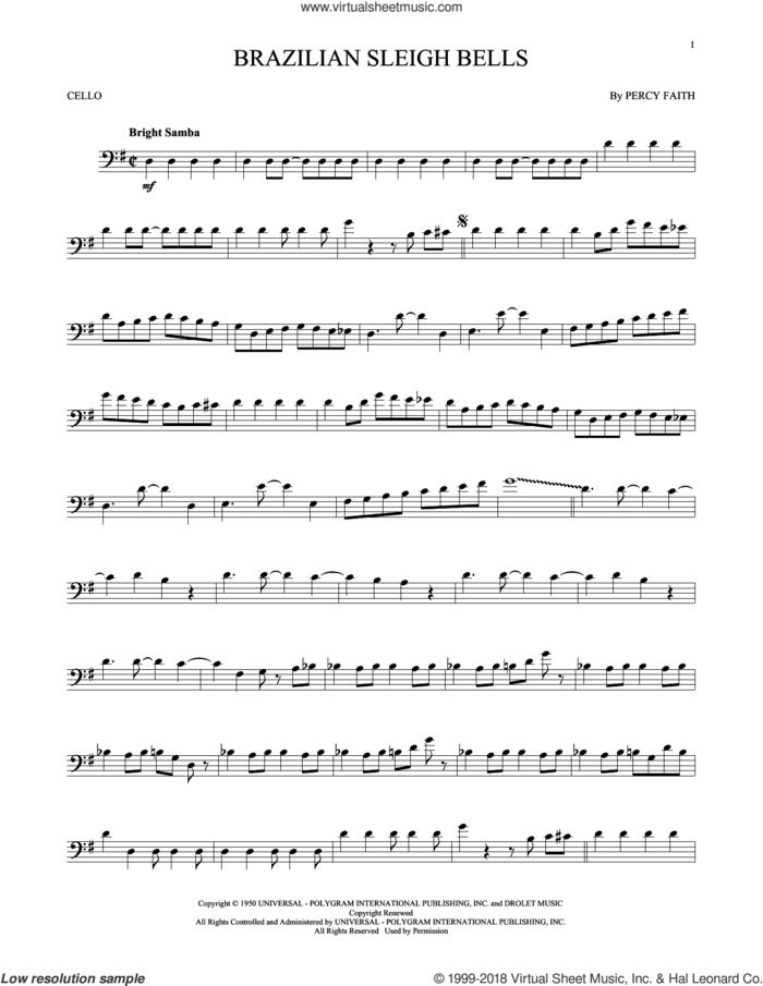 Brazilian Sleigh Bells sheet music for cello solo by Percy Faith, intermediate skill level