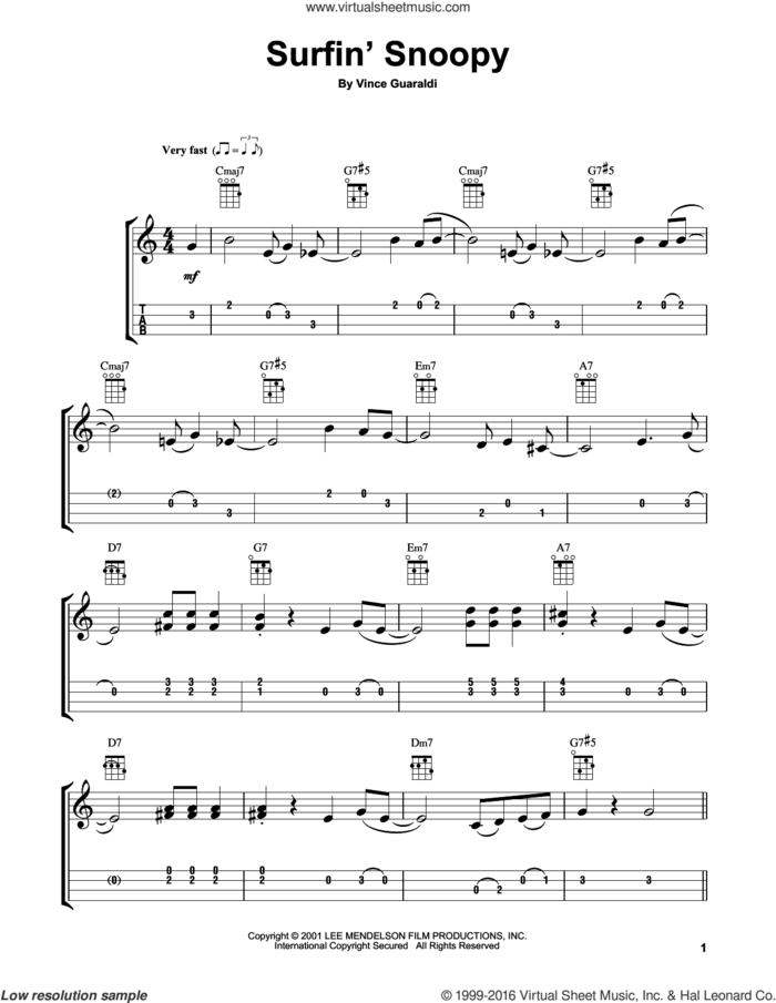 Surfin' Snoopy sheet music for ukulele by Vince Guaraldi, intermediate skill level