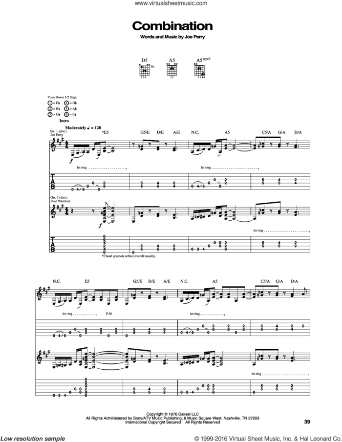 Combination sheet music for guitar (tablature) by Aerosmith and Joe Perry, intermediate skill level