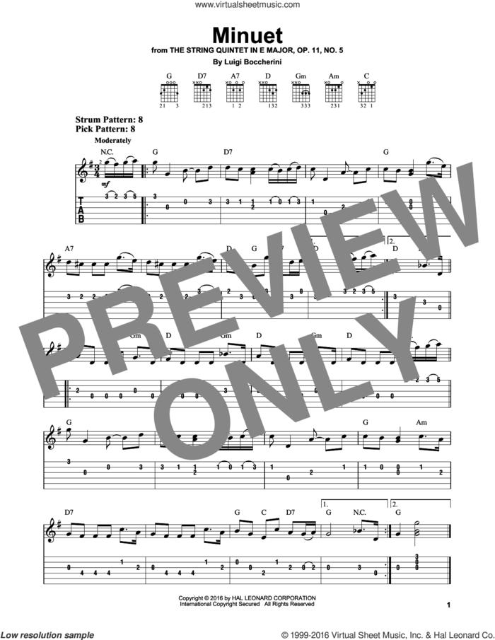 Minuet sheet music for guitar solo (easy tablature) by Luigi Boccherini, classical score, easy guitar (easy tablature)