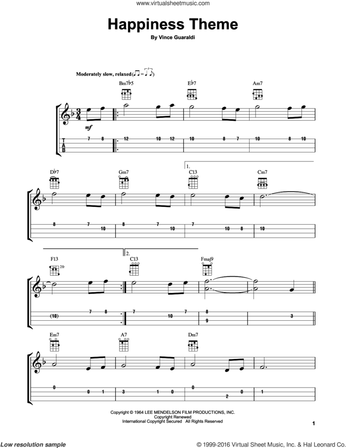 Happiness Theme sheet music for ukulele by Vince Guaraldi, intermediate skill level