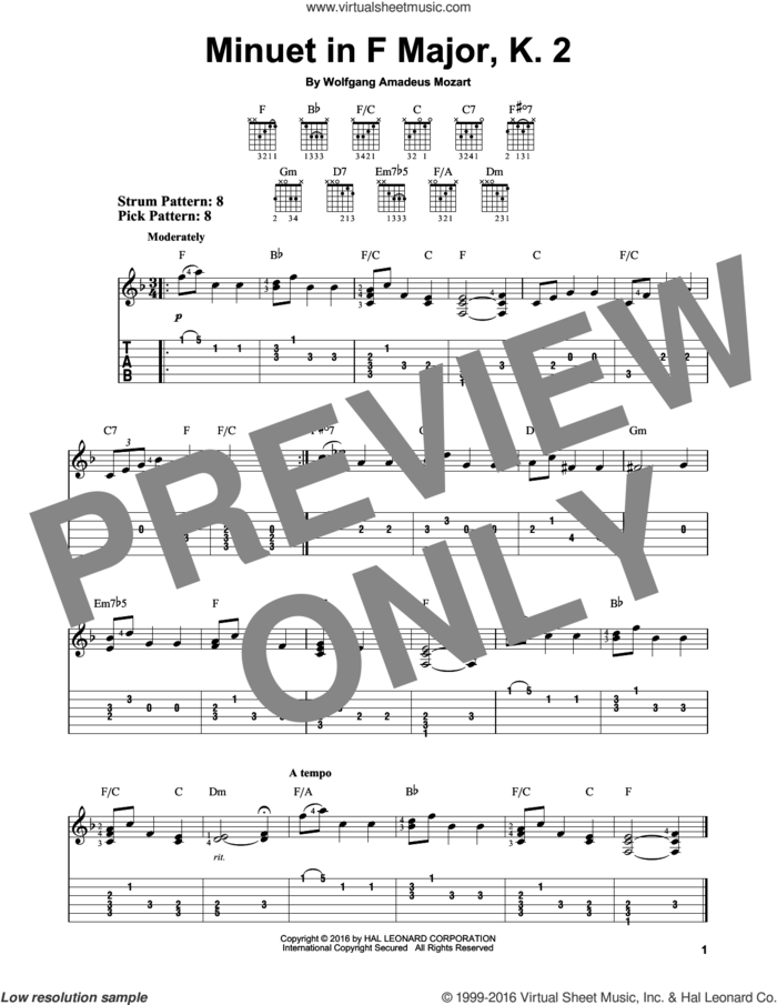 Minuet In F Major, K. 2 sheet music for guitar solo (easy tablature) by Wolfgang Amadeus Mozart, classical score, easy guitar (easy tablature)