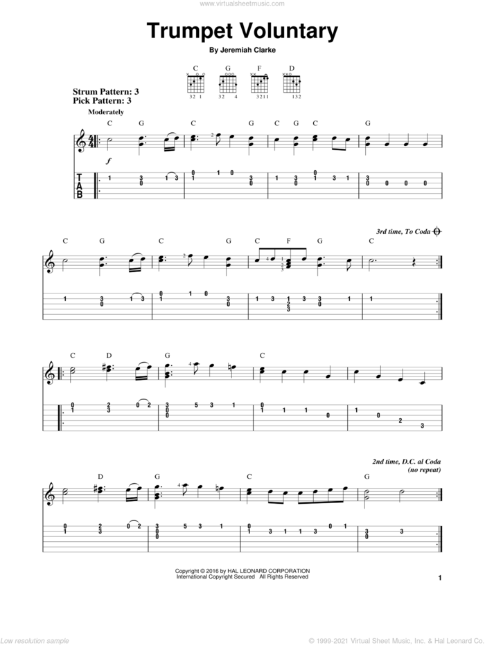 Trumpet Voluntary sheet music for guitar solo (easy tablature) by Jeremiah Clarke, classical score, easy guitar (easy tablature)