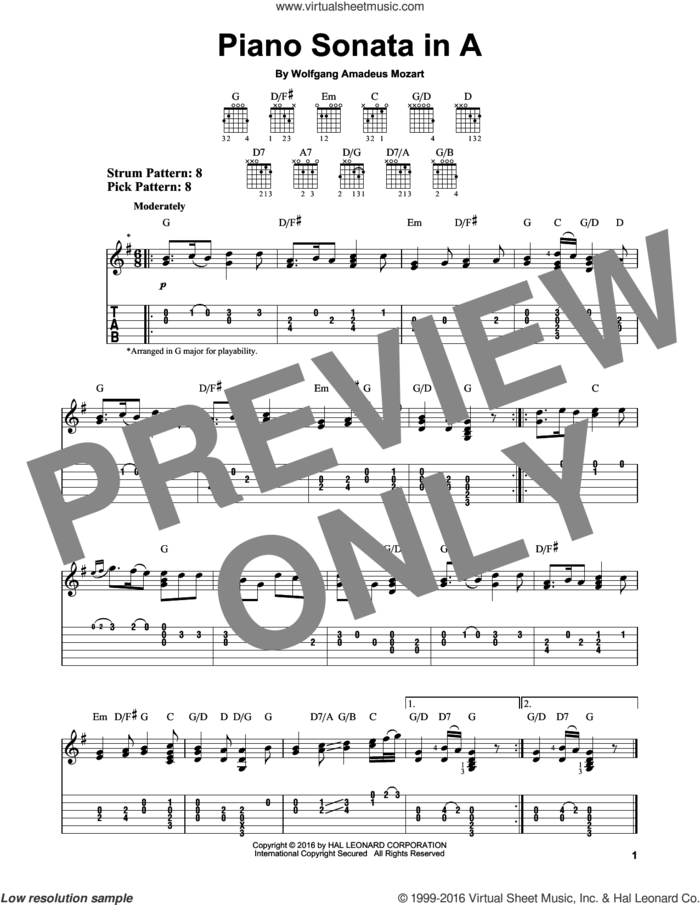 Piano Sonata In A sheet music for guitar solo (easy tablature) by Wolfgang Amadeus Mozart, classical score, easy guitar (easy tablature)