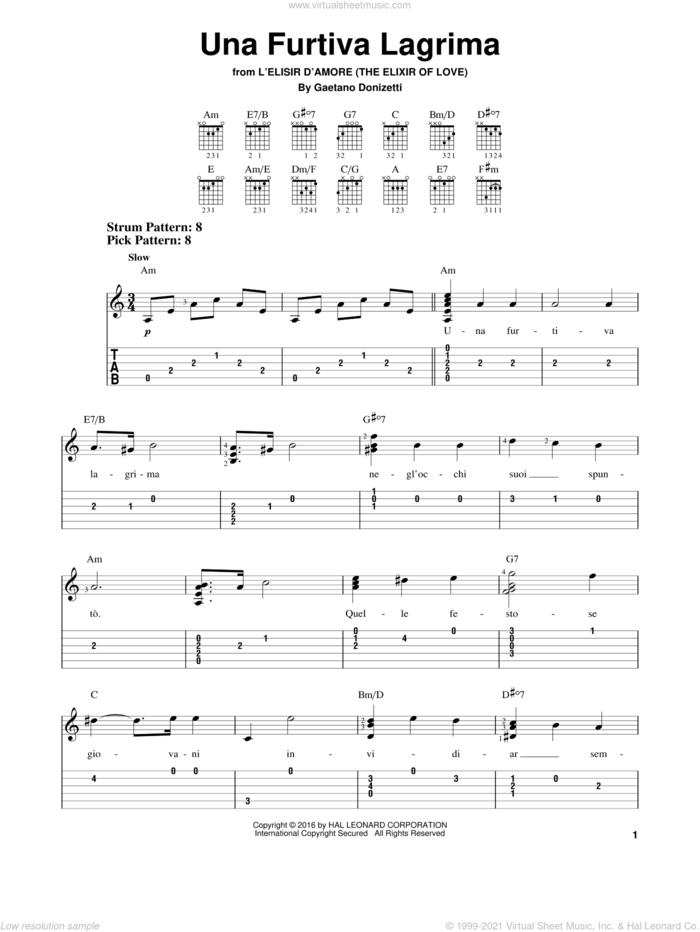 Una Furtiva Lagrima sheet music for guitar solo (easy tablature) by Gaetano Donizetti, classical score, easy guitar (easy tablature)