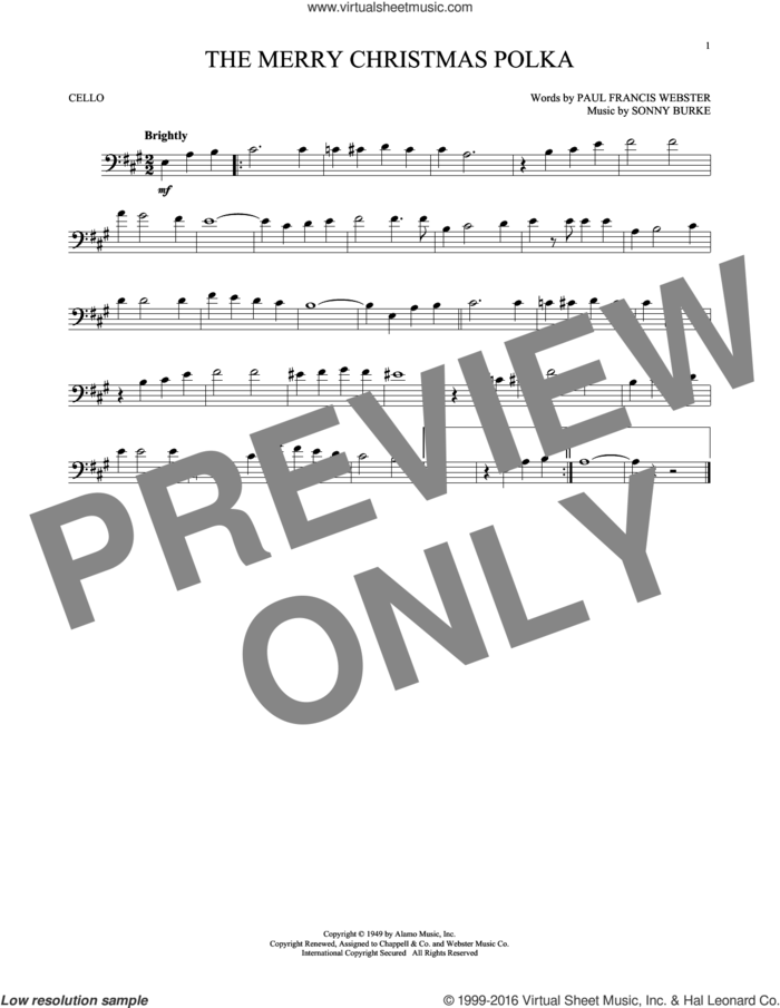 The Merry Christmas Polka sheet music for cello solo by Paul Francis Webster and Sonny Burke, intermediate skill level