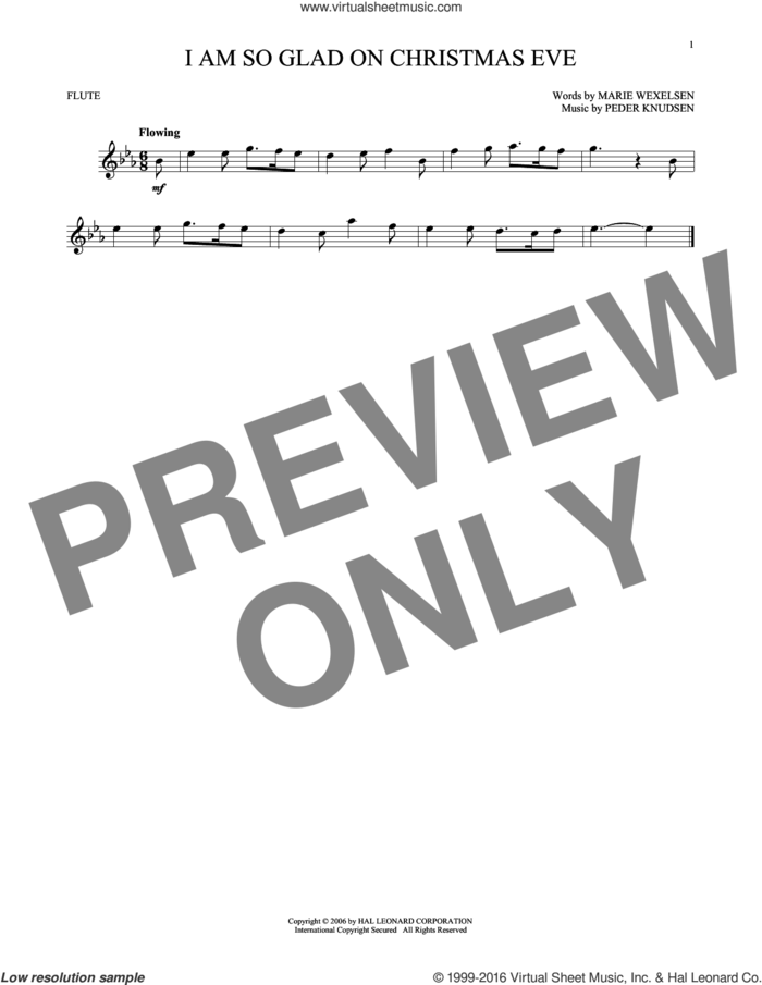 I Am So Glad On Christmas Eve sheet music for flute solo by Marie Wexelsen and Peder Knudsen, intermediate skill level