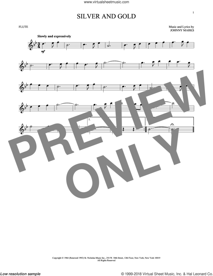 Silver And Gold sheet music for flute solo by Johnny Marks, intermediate skill level