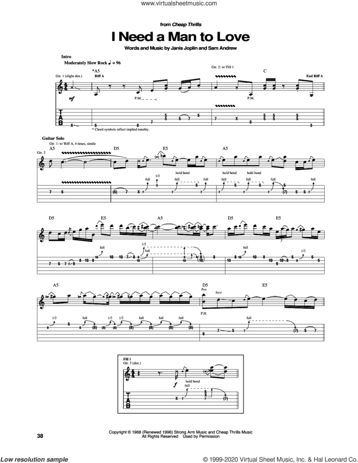 I Need A Man To Love sheet music for guitar (tablature) by Janis Joplin and Sam Andrew, intermediate skill level