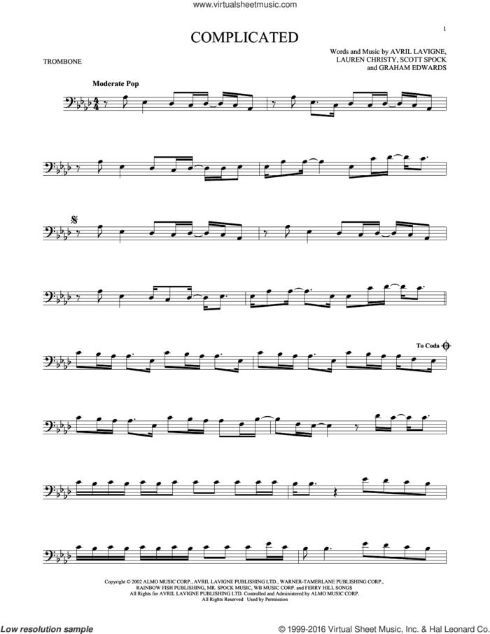 Complicated sheet music for trombone solo by Avril Lavigne, Graham Edwards, Lauren Christy and Scott Spock, intermediate skill level