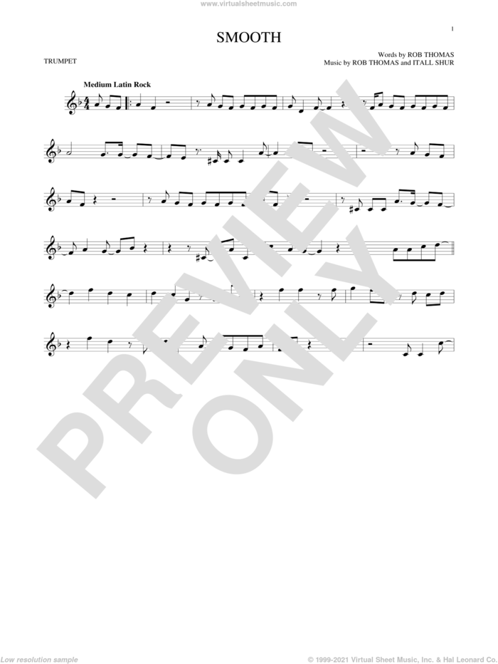 Smooth sheet music for trumpet solo by Santana featuring Rob Thomas, Itaal Shur and Rob Thomas, intermediate skill level