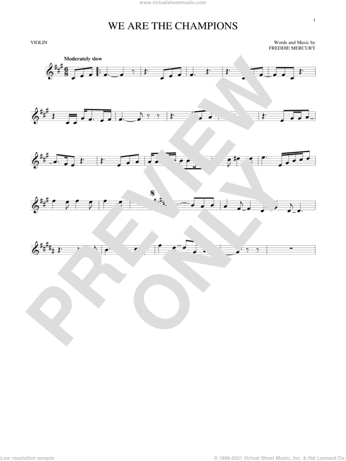 We Are The Champions sheet music for violin solo by Queen and Freddie Mercury, intermediate skill level