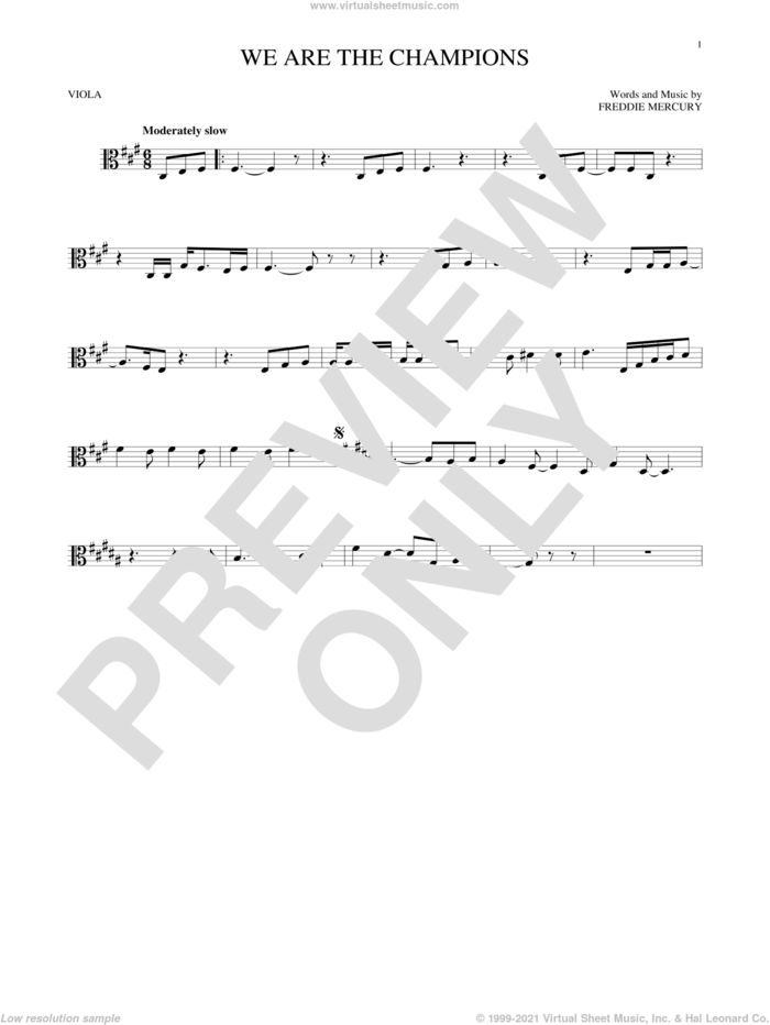 We Are The Champions sheet music for viola solo by Queen and Freddie Mercury, intermediate skill level