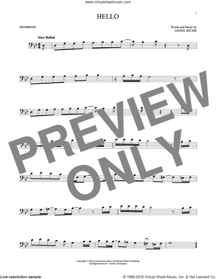 Hello sheet music for trombone solo by Lionel Richie and David Cook, intermediate skill level