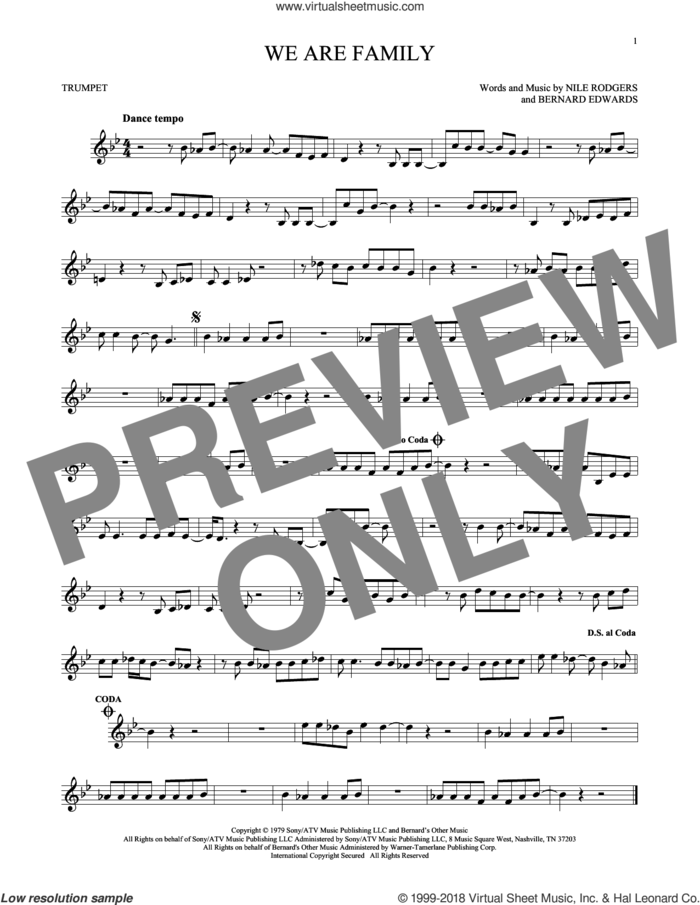 We Are Family sheet music for trumpet solo by Sister Sledge, Bernard Edwards and Nile Rodgers, wedding score, intermediate skill level