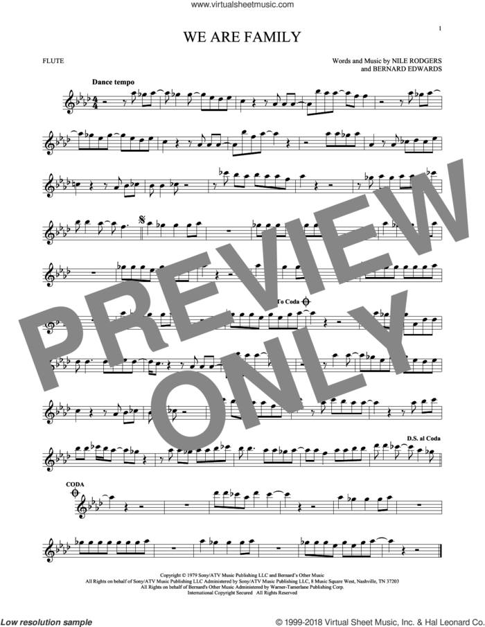 We Are Family sheet music for flute solo by Sister Sledge, Bernard Edwards and Nile Rodgers, wedding score, intermediate skill level