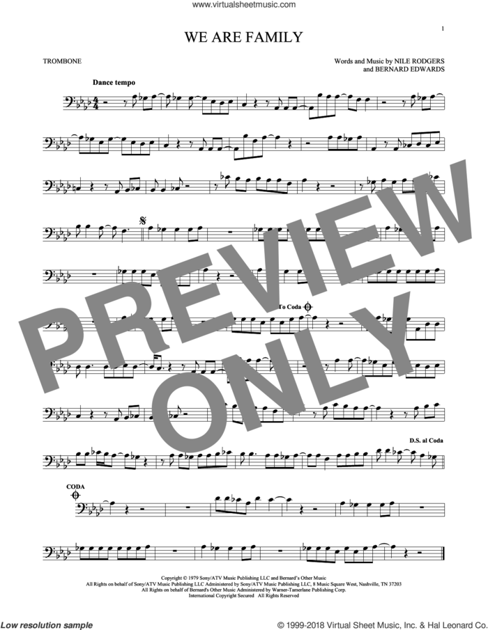 We Are Family sheet music for trombone solo by Sister Sledge, Bernard Edwards and Nile Rodgers, wedding score, intermediate skill level