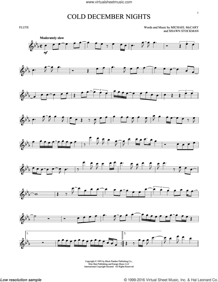 Cold December Nights sheet music for flute solo by Boyz II Men, Michael Buble, Michael McCary and Shawn Stockman, intermediate skill level