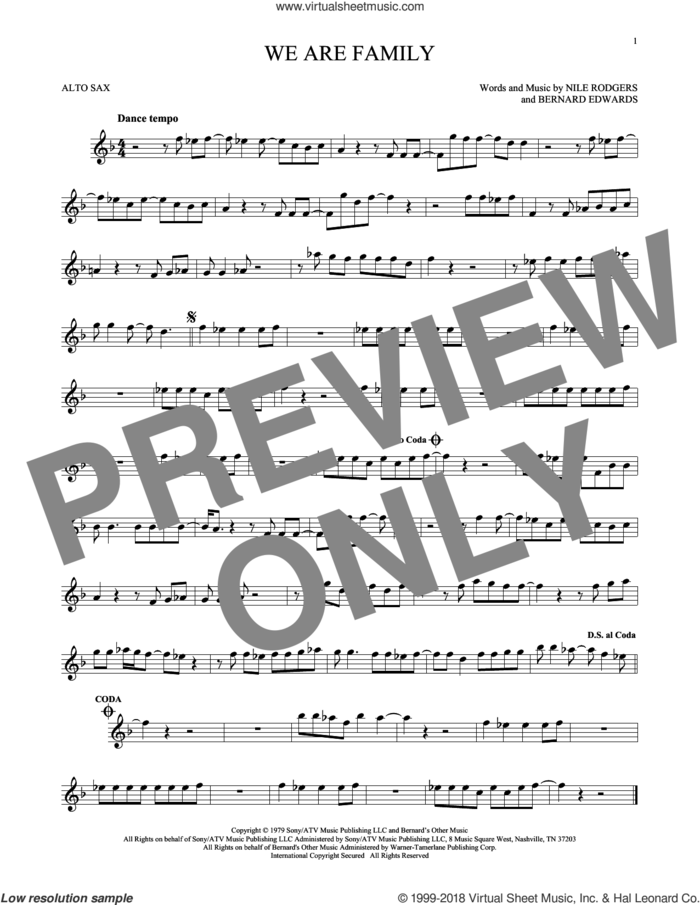 We Are Family sheet music for alto saxophone solo by Sister Sledge, Bernard Edwards and Nile Rodgers, wedding score, intermediate skill level