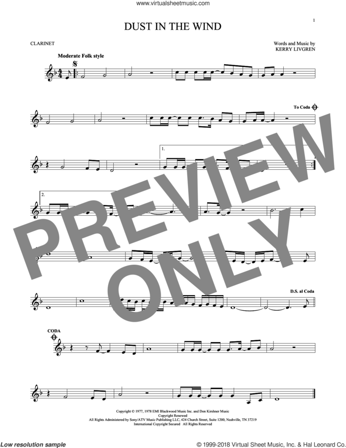 Dust In The Wind sheet music for clarinet solo by Kansas and Kerry Livgren, intermediate skill level