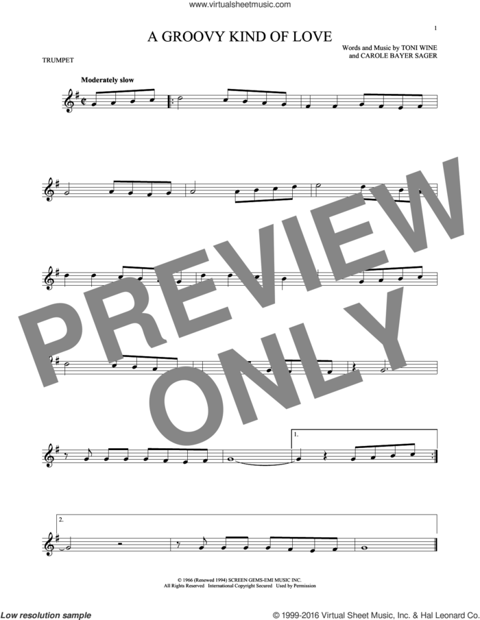 A Groovy Kind Of Love sheet music for trumpet solo by Phil Collins, The Mindbenders, Carole Bayer Sager and Toni Wine, intermediate skill level