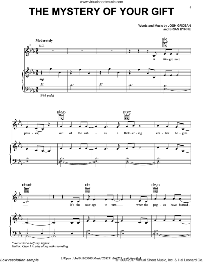 The Mystery Of Your Gift sheet music for voice, piano or guitar by Josh Groban and Brian Bryne, intermediate skill level