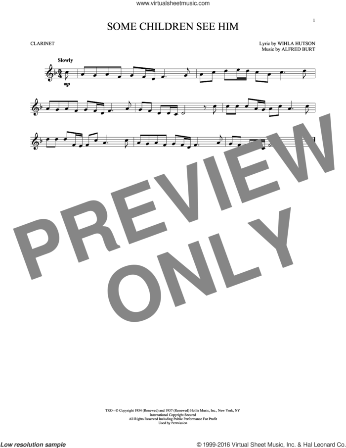 Some Children See Him sheet music for clarinet solo by Alfred Burt and Wihla Hutson, intermediate skill level