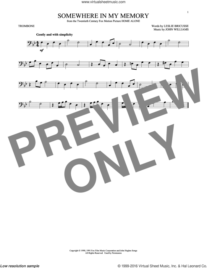 Somewhere In My Memory sheet music for trombone solo by John Williams and Leslie Bricusse, intermediate skill level