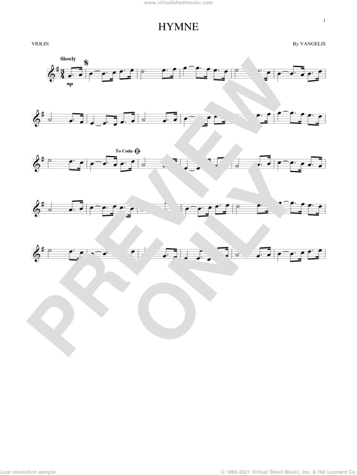 Hymne sheet music for violin solo by Vangelis, intermediate skill level