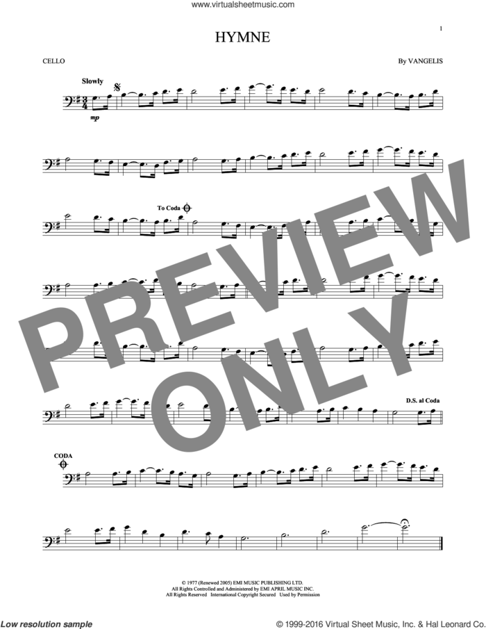 Hymne sheet music for cello solo by Vangelis, intermediate skill level