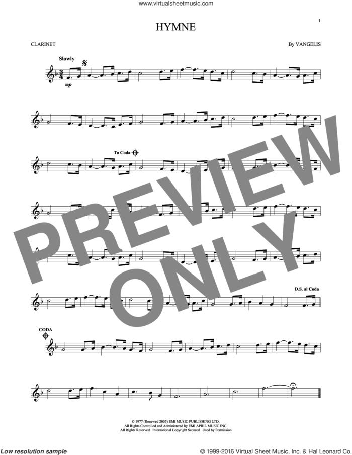 Hymne sheet music for clarinet solo by Vangelis, intermediate skill level