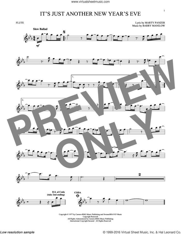 It's Just Another New Year's Eve sheet music for flute solo by Barry Manilow and Marty Panzer, intermediate skill level
