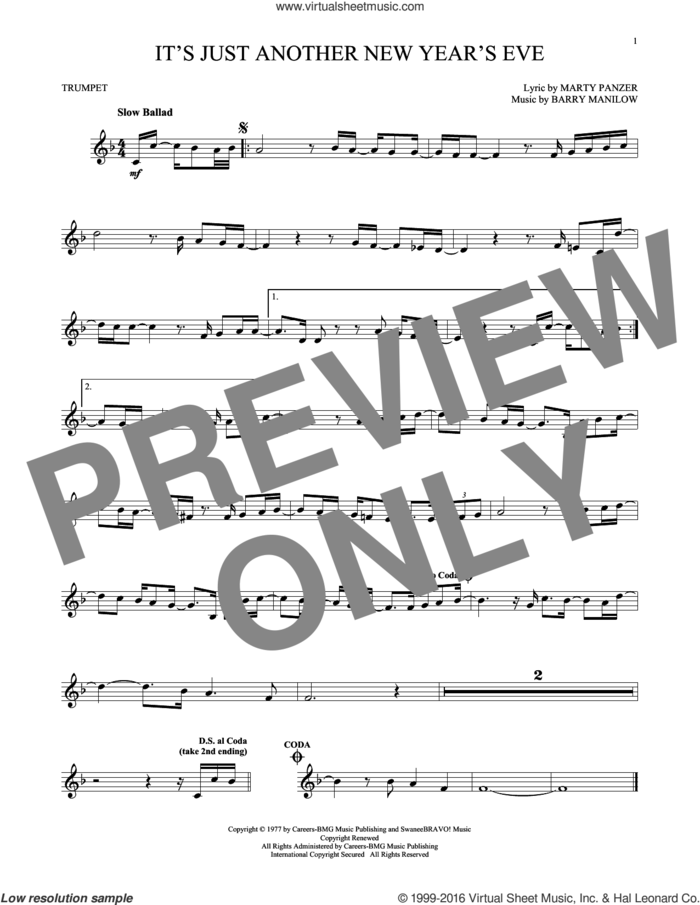 It's Just Another New Year's Eve sheet music for trumpet solo by Barry Manilow and Marty Panzer, intermediate skill level