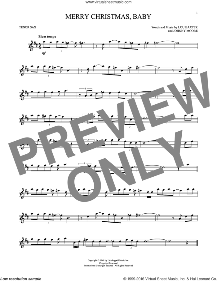 Merry Christmas, Baby sheet music for tenor saxophone solo by Elvis Presley, Johnny Moore and Lou Baxter, intermediate skill level
