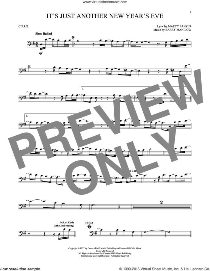 It's Just Another New Year's Eve sheet music for cello solo by Barry Manilow and Marty Panzer, intermediate skill level