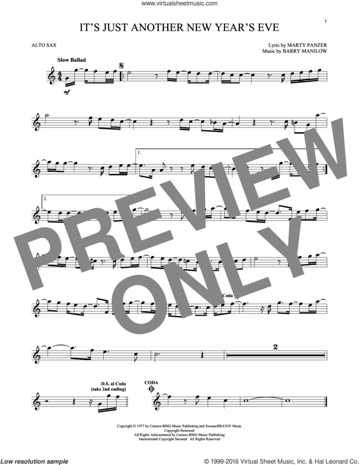 It's Just Another New Year's Eve sheet music for alto saxophone solo by Barry Manilow and Marty Panzer, intermediate skill level