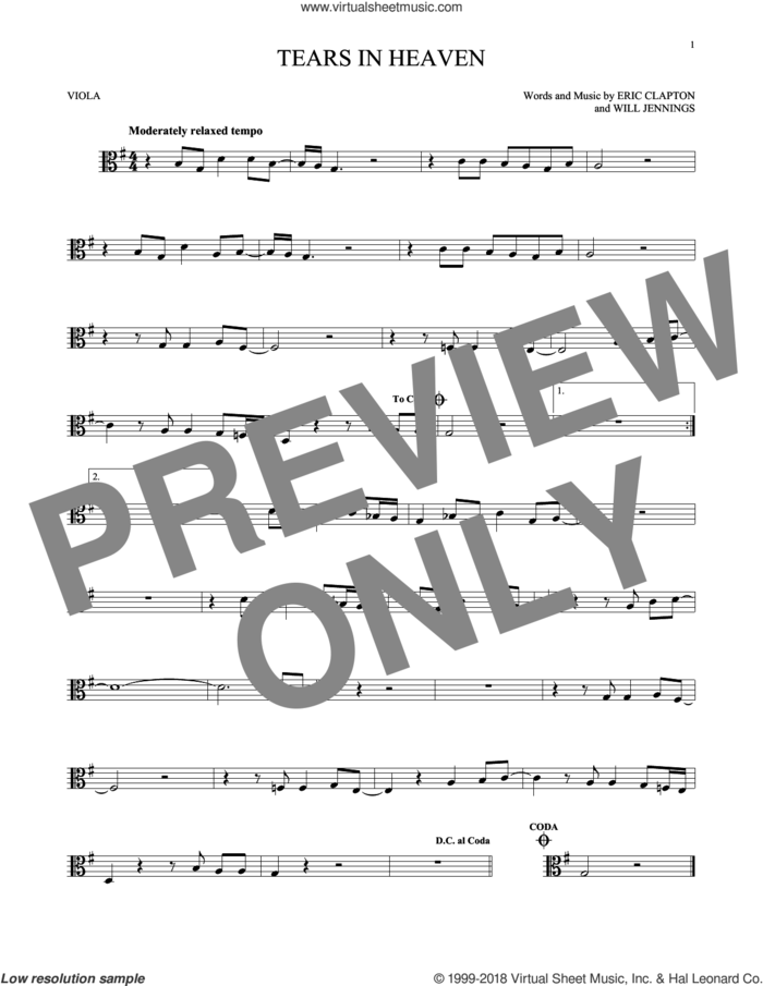 Tears In Heaven sheet music for viola solo by Eric Clapton and Will Jennings, intermediate skill level